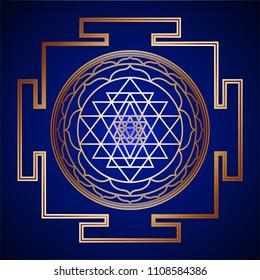 Golden Sacred Geometry Sri Yantra on background