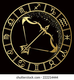 Golden Sagittarius zodiac sign. Vector Illustration