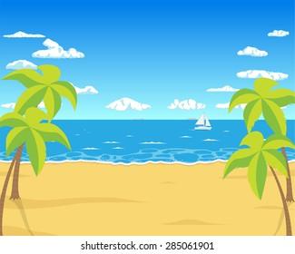 Golden sand on the summer beach near the tropical sea. Vector illustration