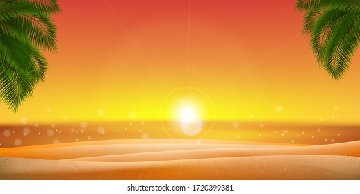 Golden sand Palm leaves with Sunset, Sunrise and Sea, Ocean. Vector EPS 10.