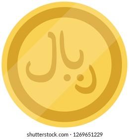 Golden Saudi Arabia coin isolated on white background. Saudi Riyal. Vector illustration