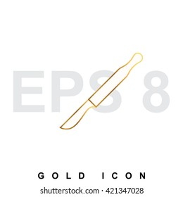 Golden scalpel premium icon graphic web design element or logo template.