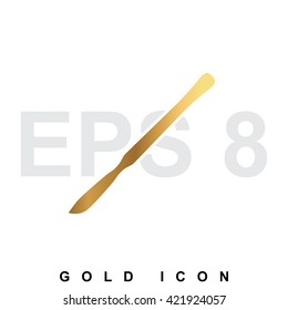 Golden scalpel premium icon graphic web design element or logo template. Vector royal luxury symbol for business, internet, decoration. Modern abstract glittering metallic emblem