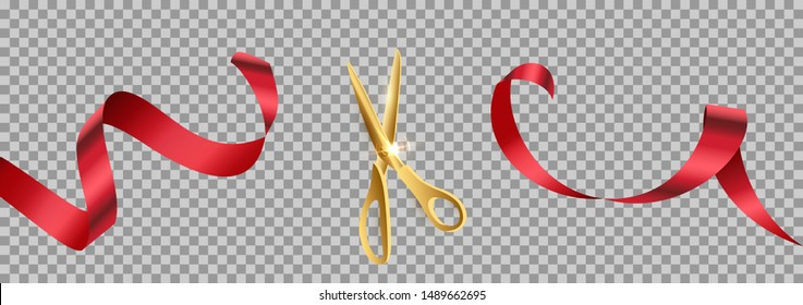 Golden scissors cut red ribbon realistic illustration. Grand opening ceremony symbols, 3d accessories on transparent background. Traditional ritual before launching new business, campaign