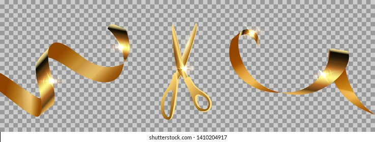 Golden scissors cut ribbon realistic illustration. Grand opening ceremony symbols, 3d accessories on transparent background. Traditional ritual before launching new business, campaign