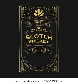 Golden scotch whiskey label for bottle with lettering. Hand drawn vintage alcohol gold frame.