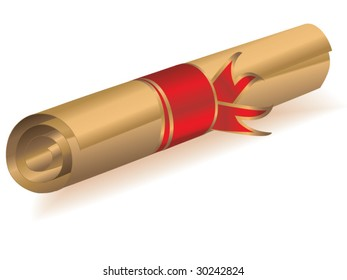 Golden scroll with ribbon