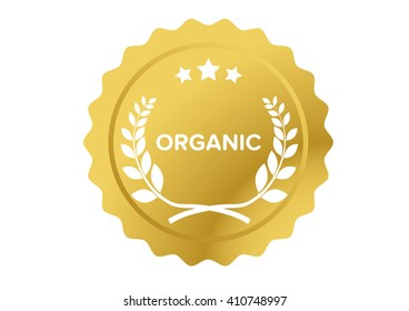 Golden seal for organic quality with laurel