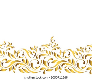 Golden seamless border. Floral swirls and flowers. Decorative design element for background tape fadric, paper, wallpaper, wrapping.