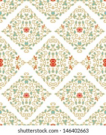 Golden seamless laced  floral pattern with red flowers and turquoise leaves on white background