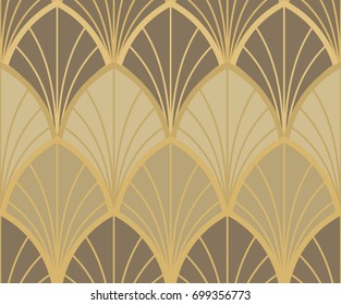 Golden seamless ornament in Art Nouveau style on brown background