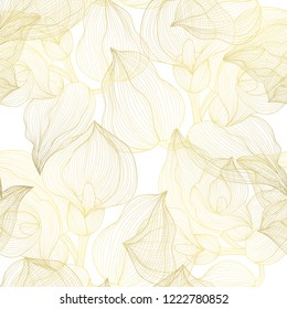 Golden seamless pattern with calla flowers, design elements. Floral  pattern for invitations, cards, print, gift wrap, manufacturing, textile, fabric, wallpapers