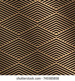 Golden seamless pattern on a dark background. Minimal design pattern combined with flashy golden gradient. Vector graphic design element.