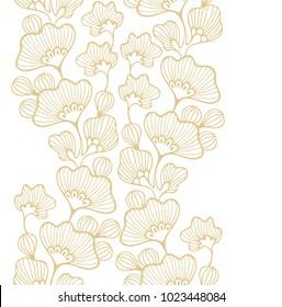 Golden seamless vector border ornament with gingko biloba leaves on white background