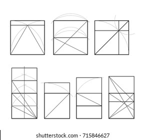 Golden section. Cover template. Pattern of proportions in the illustration based on the golden section. Vector drawing. Template design. Scalable vector illustration of spiral with golden ratio