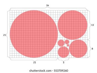 Golden section/ ratio/  proportion/ harmonious concept with seven circles. Vector.