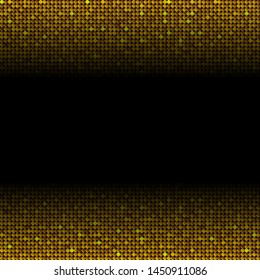 Golden sequins, glitters, sparkles, paillettes, mosaic background template. Abstract luxury halftone vector creative backdrop. Gold rounds gradient effect trendy. Vibrant shiny dots glitter texture.