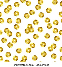 Golden sequins seamless pattern - white background.