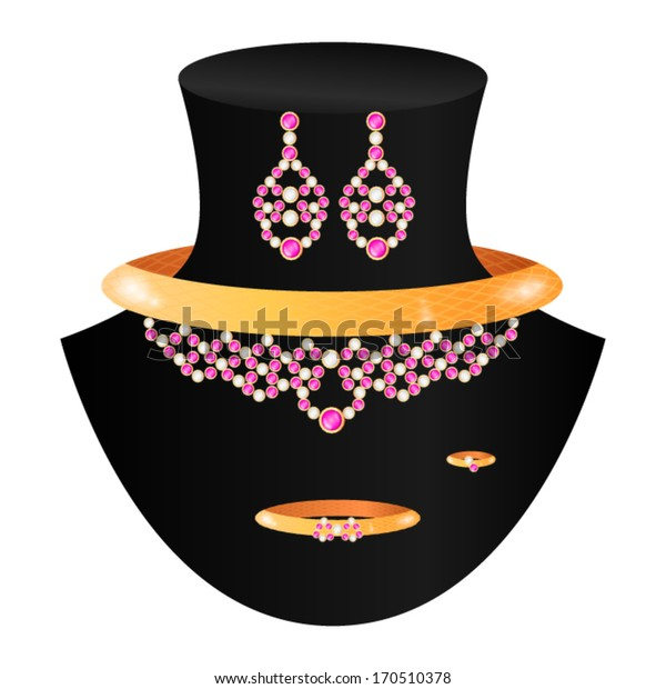 golden set from necklace rings earrings and bracelet with pink and white stones