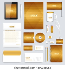 Golden set of vector corporate identity template. Modern business stationery mock-up. Background with gold triangles. Branding design.