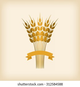 Golden sheaf of wheat with ribbon. vector illustration - eps 8