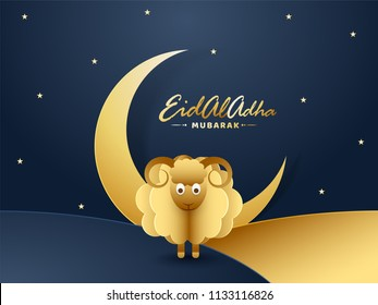 Golden sheep with crescent moon on night view landscape decorated of stars can be used as greeting card design for Eid Al Adha Mubarak Festival of Sacrifice.