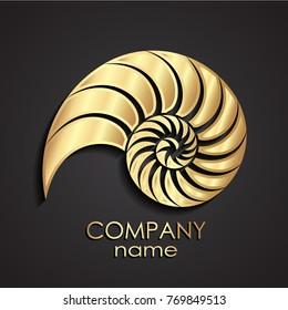 golden shell spiral logo