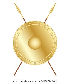 Golden shield and crossed spears, vector design