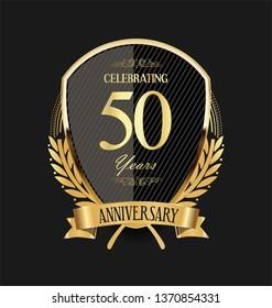 Golden shield and laurel wreath anniversary retro design 50 years