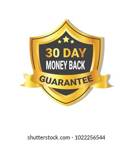Golden Shield Money Back In 30 Days Guarantee Label with Ribbon Isolated Vector Illustration