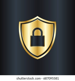 Golden shield with padlock icon