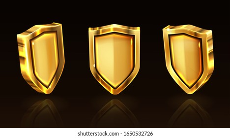 Golden shield vector icons set, gold medieval knight ammo, guard with engraved border, award trophy, military armor front side view isolated on black background with reflection, realistic 3d clipart