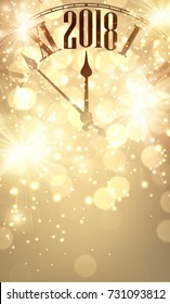 Golden shining 2018 New Year background with clock. Vector illustration.