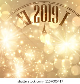 Golden shining 2019 New Year background with clock. Vector illustration.
