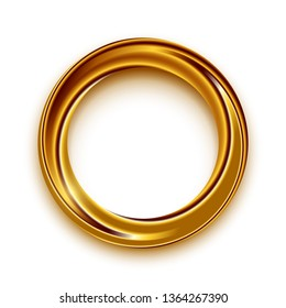 Golden shining circle text frame illustration. Glowing round border with copyspace on white background. Golden ring, circular geometric shape with sparkling effect. Isolated design element