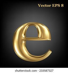 Golden shining metallic 3D symbol lowercase letter e, vector EPS8