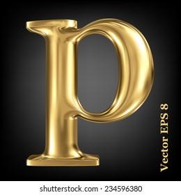 Golden shining metallic 3D symbol lowercase letter p, vector EPS8
