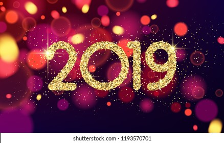 Golden shiny 2019 New Year sign on blurred background. Vector card.
