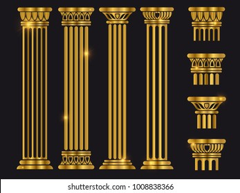 Golden shiny ancient rome architecture column set on black. Vector illustration