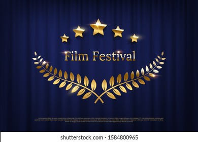 Golden shiny award laurel wreaths and Film Festival text isolated on dark blue curtain background. Vector design element