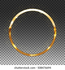 Golden Shiny Circle Frame on Transparent Background, Vector Glittering Design Element, Modern Luxury Template.
