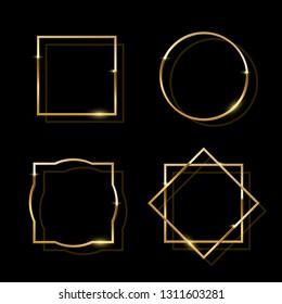 Golden shiny frames isolated on black background. Vector golden luxury realistic border set