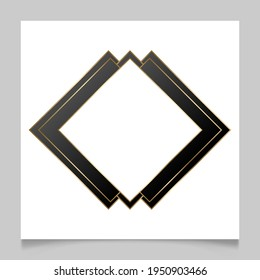 Golden shiny glowing blank frame over white background. Gold metal luxury rhombus border. Vector background illustration template.