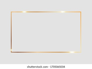 Golden shiny glowing rectangle frame isolated over light gray background. Gold metal luxury blank rectangle border. Vector background illustration template.