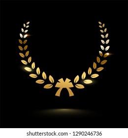 Golden shiny laurel wreath isolated on black background. Vector design element