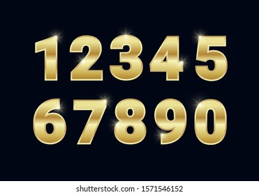 Golden shiny metal numbers set, gold font signs isolated on black background. Luxury fashion typography design for decoration, web, design, advert. Vector illustration