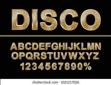 Golden shiny mosaic in disco ball style. Alphabet font and numbers.