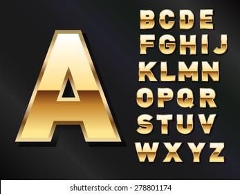 Golden Shiny Set of Letters