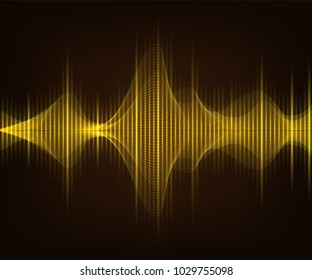 Golden shiny sound wave on dark brown background. Vector tecnology illustration.