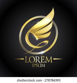 Golden shiny wing in oval logo against black backdrop.